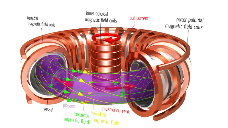 Internal workings of a conventional tokamak with a central solenoid. Credit: Max-Planck Institut für Plasmaphysik